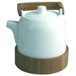 Théière o'thé avec support en céramique et bambou